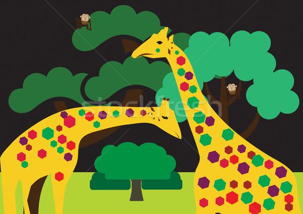 Gekleurd giraffen liefde Stockfoto © MichalEyal