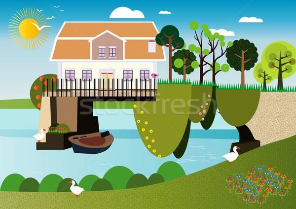 Huis boven water Stockfoto © MichalEyal