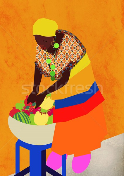 Vrouw kom vruchten Stockfoto © MichalEyal