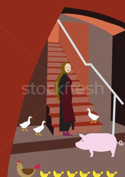 Stock fotó: Háziállatok · nő · disznóhús