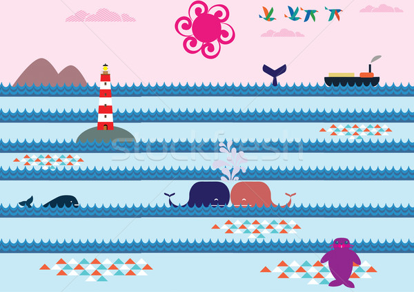 Kus zee eiland roze Stockfoto © MichalEyal
