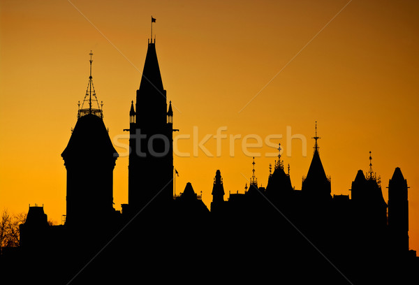 Canada silhouette parlement orange affaires ciel Photo stock © michelloiselle