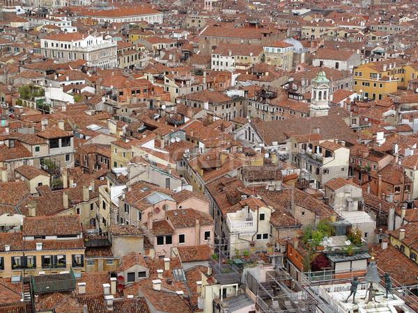 Górę widoku Wenecja dachu widok z lotu ptaka domów Zdjęcia stock © michey