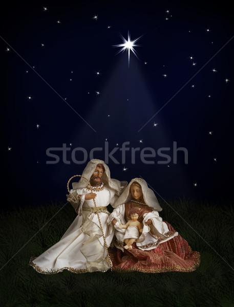 Christmas świat scena Jezusa świecie górę Zdjęcia stock © michey