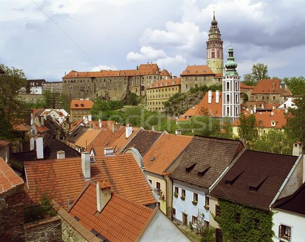 Czech widoku dachy słońce podróży czarny Zdjęcia stock © michey