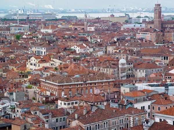 Wenecja dachy przemysłu widok z lotu ptaka domów morza Zdjęcia stock © michey