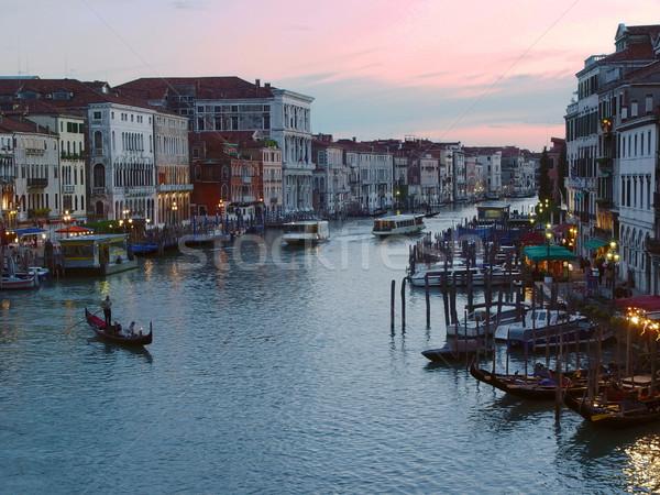 Wieczór Wenecja kanał gondola sylwetka Włochy Zdjęcia stock © michey