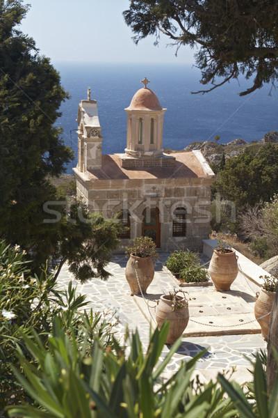 Kościoła drzew stylu wysoki krajobraz niebieski Zdjęcia stock © michey