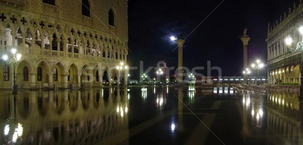 Wysoki wody Wenecja powódź placu świetle Zdjęcia stock © michey