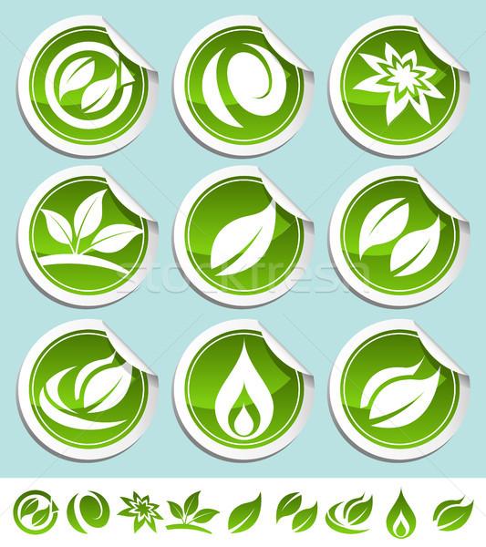 Green Eco Stickers Stock photo © Mictoon
