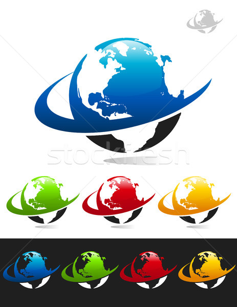 Dünya gezegeni simgeler grafik elemanları web mavi Stok fotoğraf © Mictoon