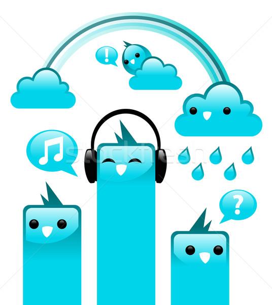 синий Funky птиц иллюстрация облака дождь Сток-фото © Mictoon