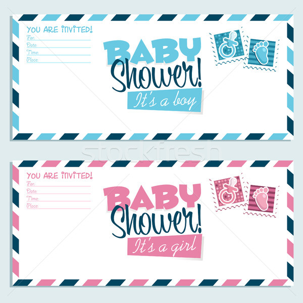 Baby Shower Invitation Envelope Cards Stock photo © Mictoon