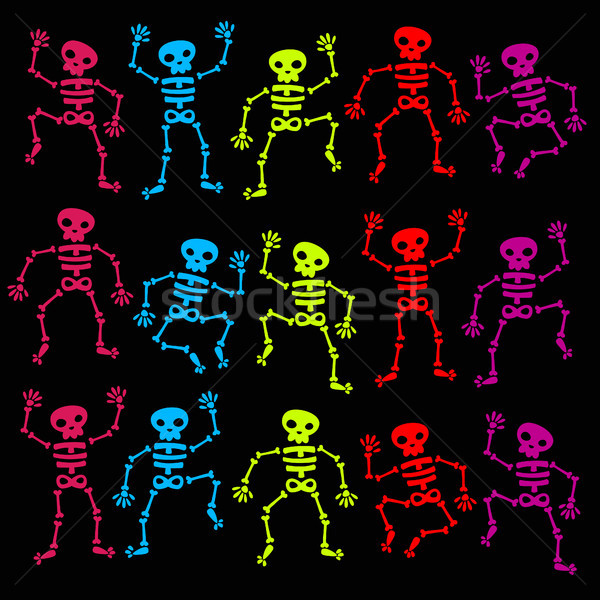Colorful Dancing Skeletons Stock photo © Mictoon
