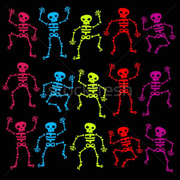 Renkli dans ayarlamak dizayn kafatası tatil Stok fotoğraf © Mictoon