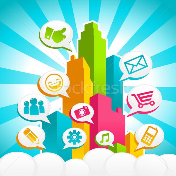 Social Media City Stock photo © Mictoon