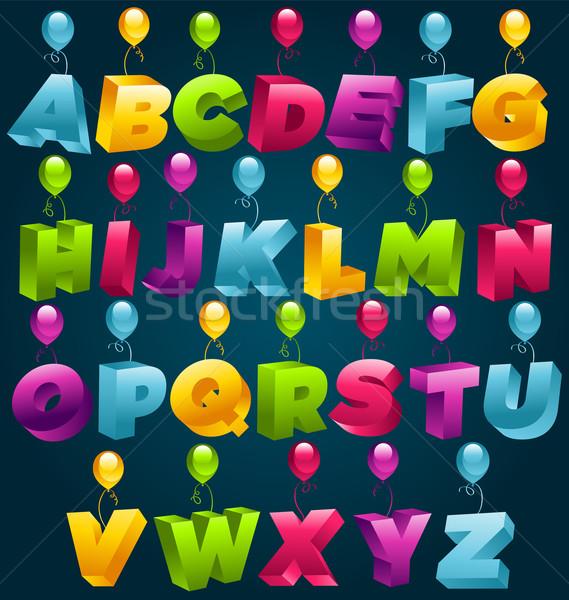 вечеринка алфавит красочный набор шаров образование Сток-фото © Mictoon