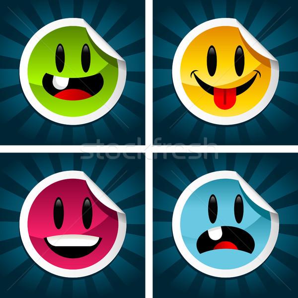 улыбаясь красочный набор весело улыбка Сток-фото © Mictoon