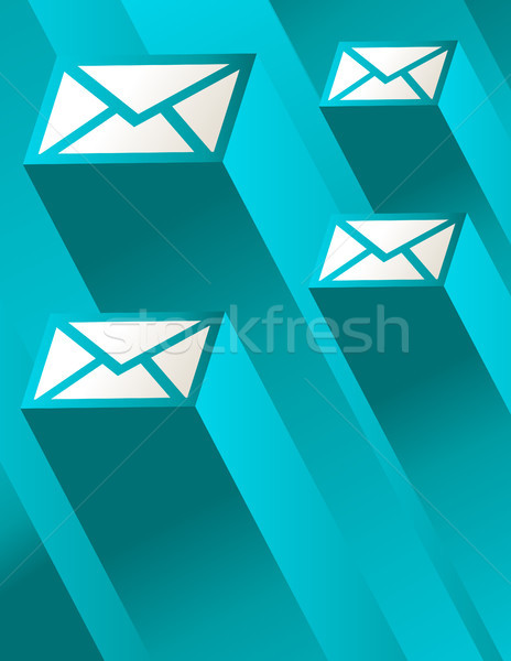 синий почты конверт иллюстрация 3D иконки Сток-фото © Mictoon