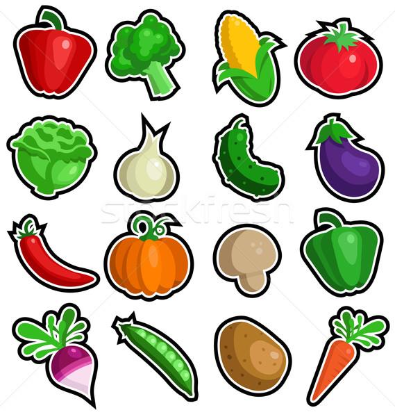 красочный растительное иконки саду фермы Сток-фото © Mictoon