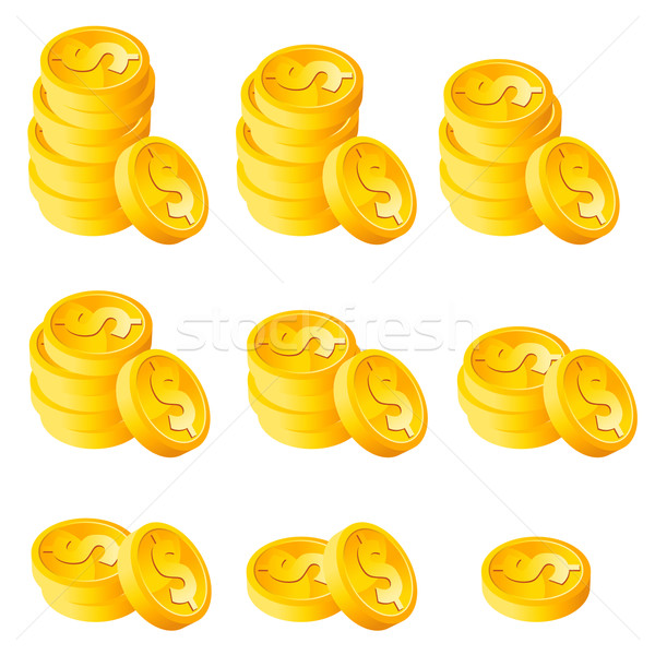 Stack Gold Dollar Coins Stock photo © Mictoon