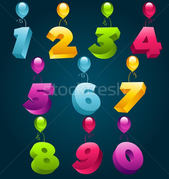 3D parti balonlar sayılar ayarlamak okul Stok fotoğraf © Mictoon