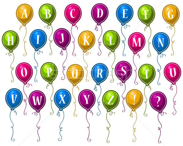 Parti alfabe balonlar ayarlamak renkli mutlu Stok fotoğraf © Mictoon