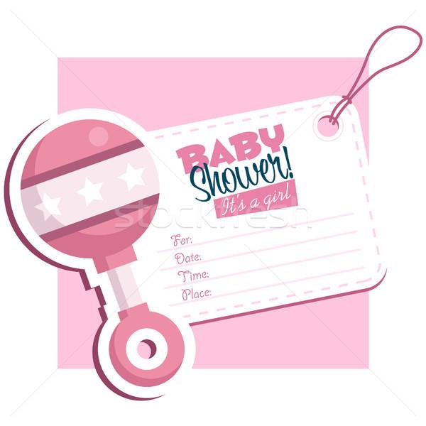 розовый ребенка душу приглашения греметь Сток-фото © Mictoon