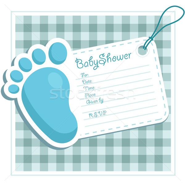 blue baby shower invitation card vector illustration © michel, Einladung