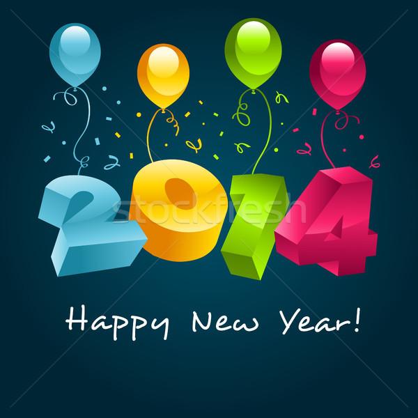 Happy new year 2014 tebrik kartı parti balonlar mutlu Stok fotoğraf © Mictoon
