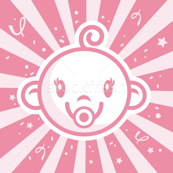 Pembe örnek konfeti kız bebek Stok fotoğraf © Mictoon