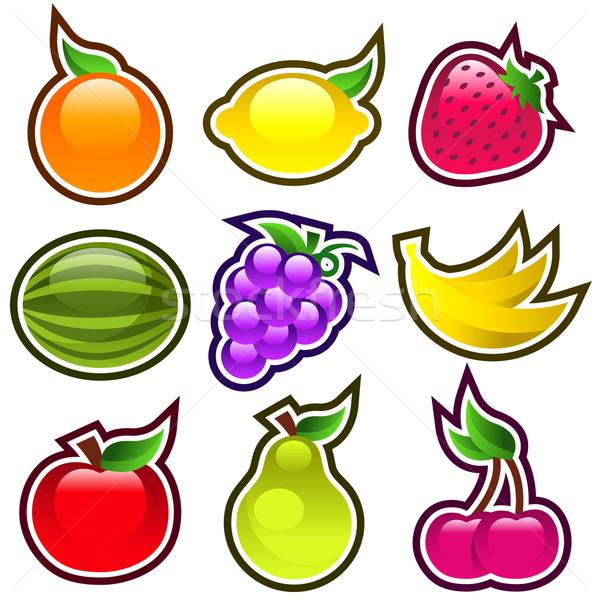 Parlak meyve renkli simgeler elma Stok fotoğraf © Mictoon