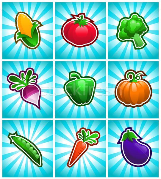 красочный овощей растительное иконки синий Сток-фото © Mictoon