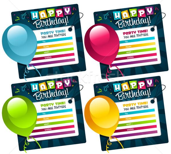 Mini doğum günü davetiye kartları ayarlamak tebrik Stok fotoğraf © Mictoon