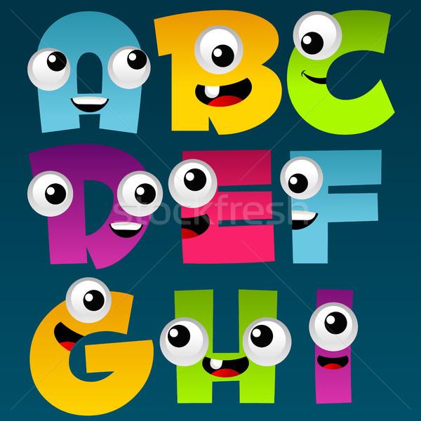 Cartoon алфавит набор весело красочный дизайна Сток-фото © Mictoon