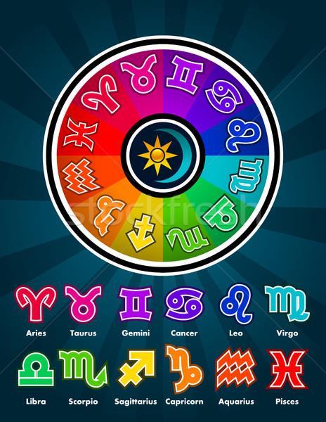 Renkli zodyak semboller daire dizayn ay Stok fotoğraf © Mictoon