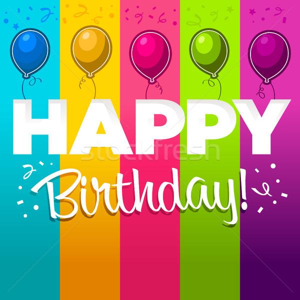 Mutlu yıllar tebrik kartı doğum günü parti balonlar mavi Stok fotoğraf © Mictoon