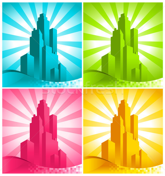 Colorful Skyscrapers Stock photo © Mictoon