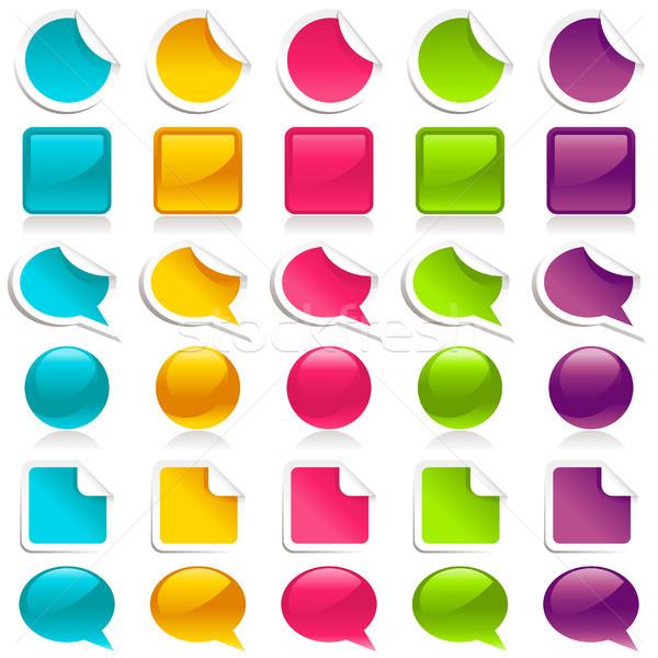 Konuşma balonu simgeler ayarlamak renkli kâğıt Stok fotoğraf © Mictoon