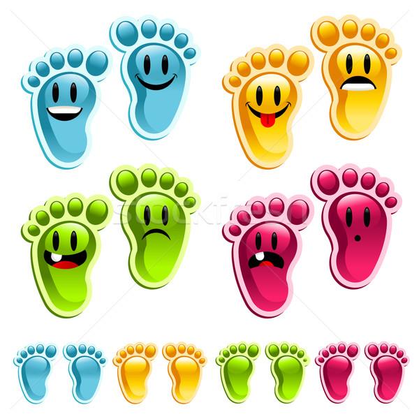 Mutlu gülen ayaklar ayarlamak eğlence renkli Stok fotoğraf © Mictoon