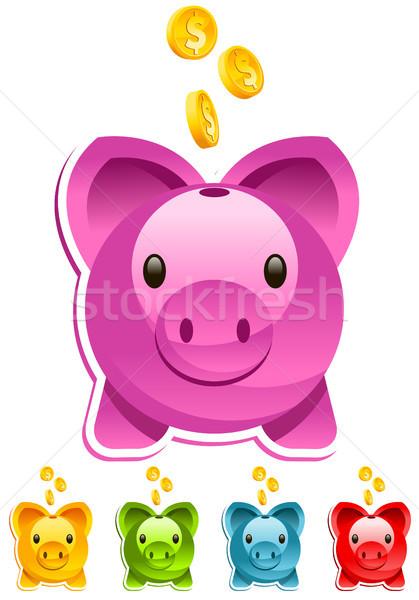 Renkli bankalar ayarlamak altın dolar Stok fotoğraf © Mictoon