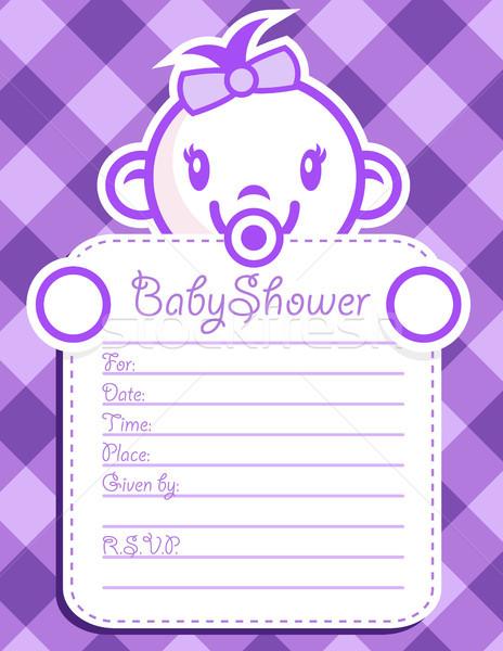 Purple приглашения ребенка душу Сток-фото © Mictoon