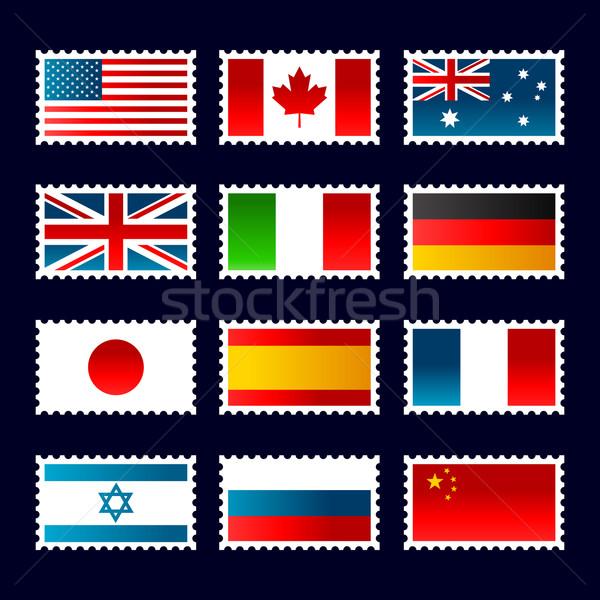 Damga dünya bayraklar ayarlamak pulları dizayn Stok fotoğraf © Mictoon