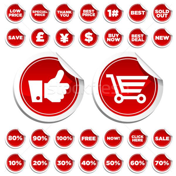 Satış alışveriş ayarlamak parlak el Stok fotoğraf © Mictoon