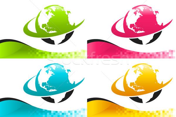 красочный земле иконки Баннеры набор мира Сток-фото © Mictoon