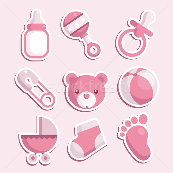розовый ребенка душу иконки девушки Сток-фото © Mictoon