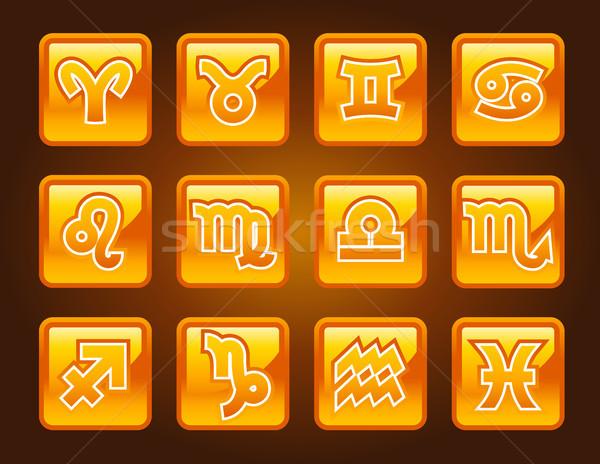 золото зодиак иконки дизайна луна Сток-фото © Mictoon