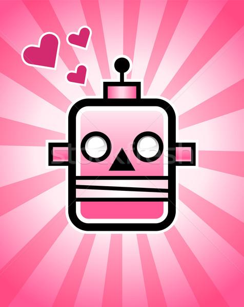 Pembe Retro robot örnek kafa kalpler Stok fotoğraf © Mictoon