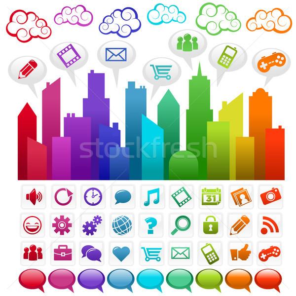 радуга город красочный иконки бизнеса Сток-фото © Mictoon