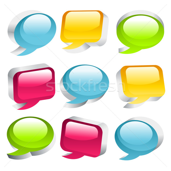 Colorful Speech Bubble Icons Stock photo © Mictoon
